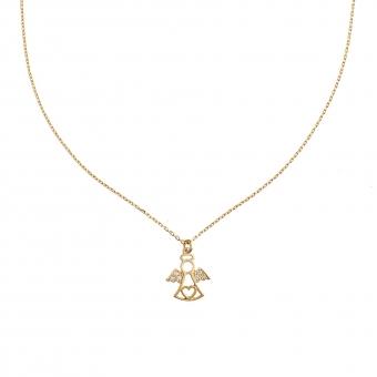 Naszyjnik MINI srebrny pozłacany z aniołkiem i cyrkoniami