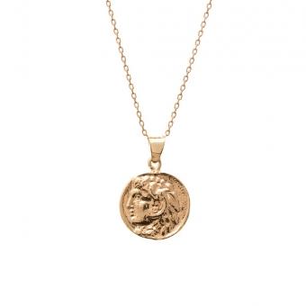 Długi naszyjnik TRENDY srebrny pozłacany z monetą 1,4 cm