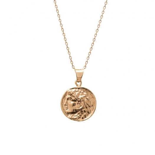 Naszyjnik URBAN CHIC srebrny pozłacany z monetą 1,4 cm