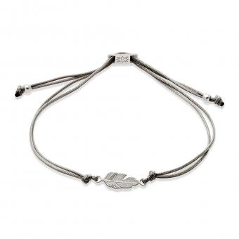 Bransoletka sznurkowa HIPPIE srebrna z piórkiem