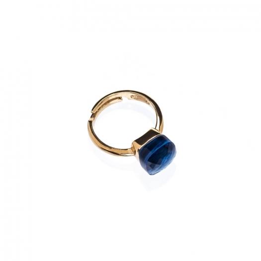 Pierścionek VENUS srebrny pozłacany z granatowym kryształem
