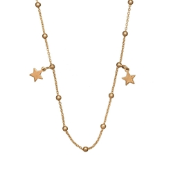 Naszyjnik LOCO STAR srebrny pozłacany z gwiazdkami i kuleczkami