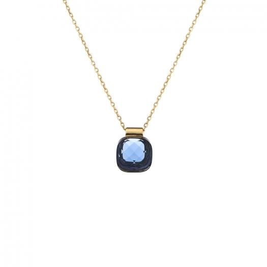 Naszyjnik VENUS srebrny pozłacany z granatowym kryształem