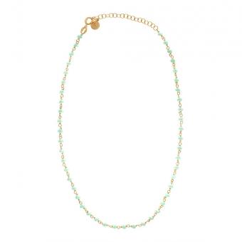 Choker OVAL srebrny pozłacany z zielonymi kryształkami