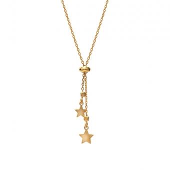 Naszyjnik LOCO STAR srebrny pozłacany z gwiazdkami