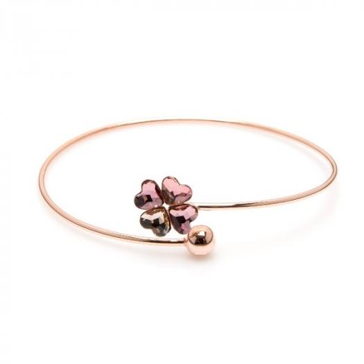 Bransoletka AIDA srebrna pozłacana na różowo z kryształem Swarovskiego
