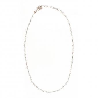 Choker OVAL srebrny z niebieskimi kryształkami