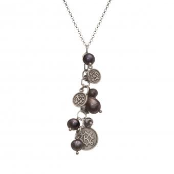 Naszyjnik DARK srebrny z hematytem i monetami