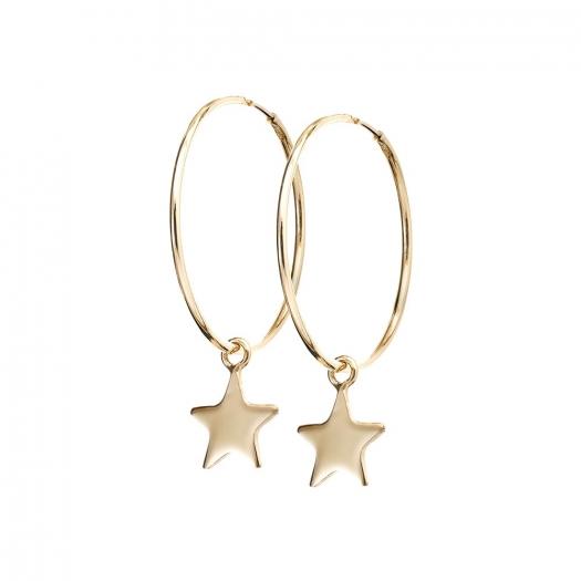 Kolczyki LOCO STAR srebrne pozłacane koła 2 cm z gwiazdką