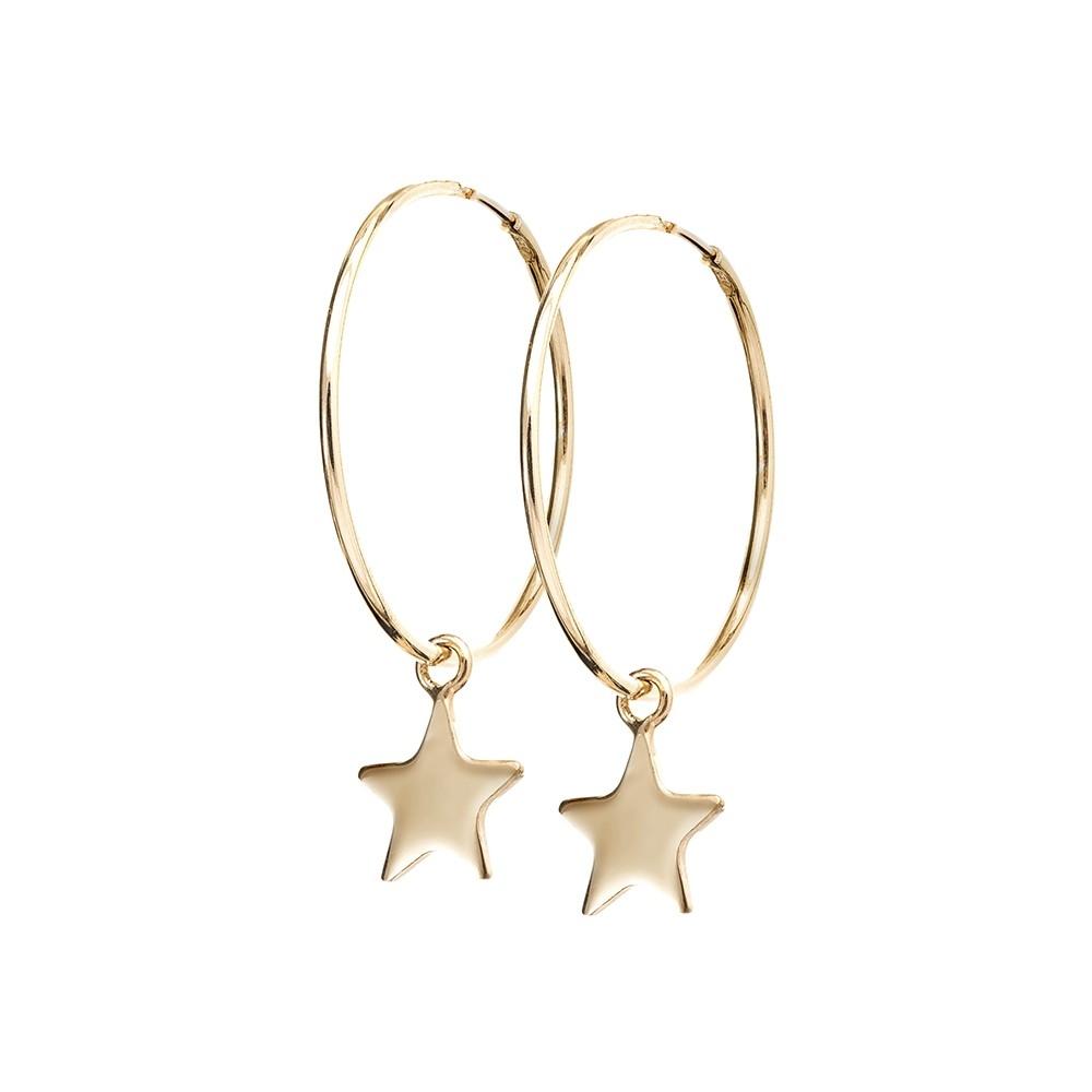 Kolczyki SKY srebrne pozłacane koła 2 cm z gwiazdkami