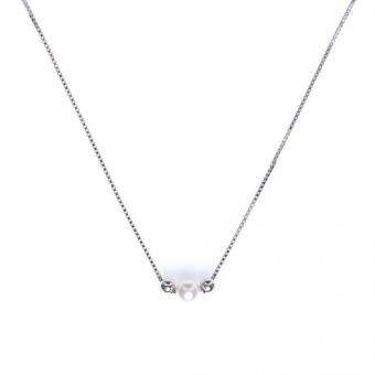 Naszyjnik CLASSY srebrny z perłą i kuleczkami