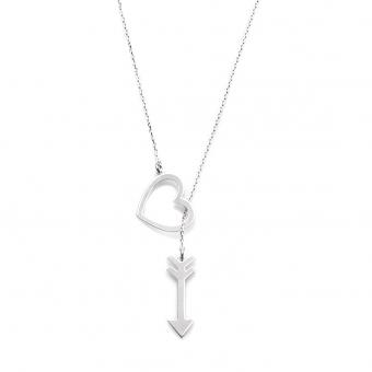 Naszyjnik ROMANTICA srebrny z sercem i strzałą