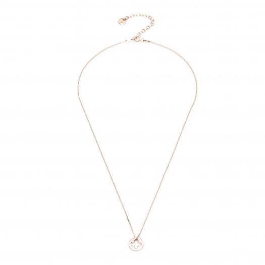 Naszyjnik celebrytka BELIEVE srebrny pozłacany na różowo z koniczynką