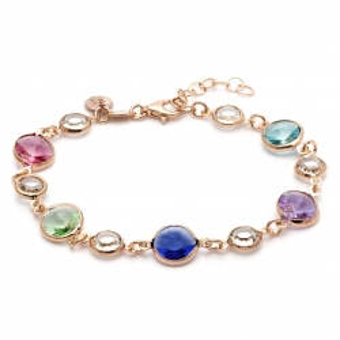 Bransoletka VENUS srebrna pozłacana na różowo z kryształami Swarovskiego