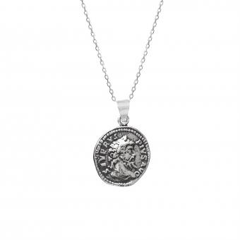 Naszyjnik URBAN CHIC srebrny z monetą 1,7 cm