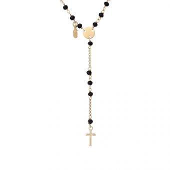 Naszyjnik URBAN CHIC srebrny pozłacany z kryształkami i krzyżykiem