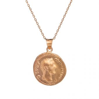 Naszyjnik URBAN CHIC srebrny pozłacany na różowo z monetą 1,7 cm