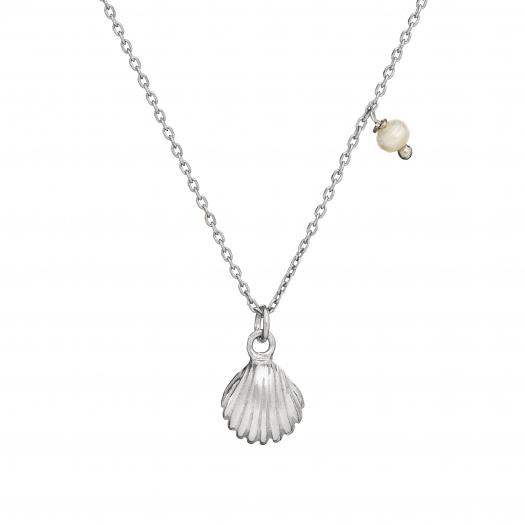 Naszyjnik ARIEL srebrny z perłą i muszelką