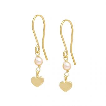 Kolczyki DOLCE VITA złote z perłą i serduszkiem