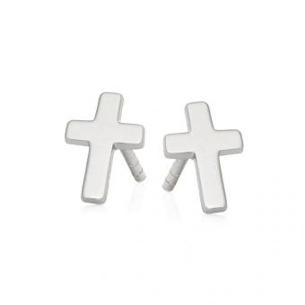 Kolczyki BELIEVE srebrne krzyżyk