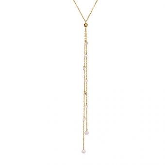 Naszyjnik GLAMOUR srebrny pozłacany z cyrkoniami