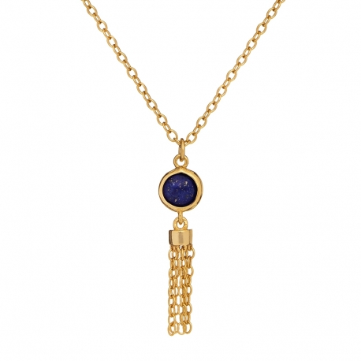 Naszyjnik OVAL srebrny pozłacany z naturalnym lapis lazuli