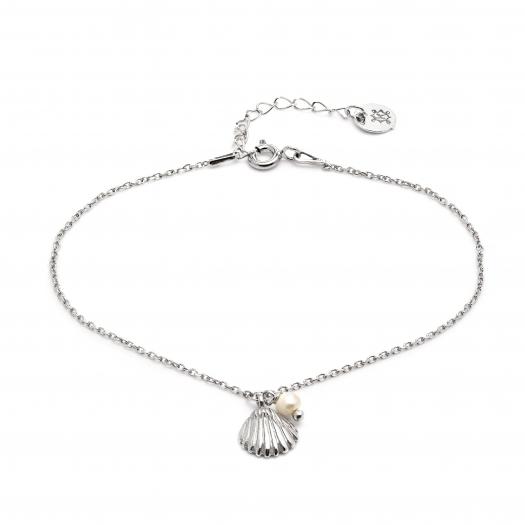 Bransoletka ARIEL srebrna z perłą i muszelką