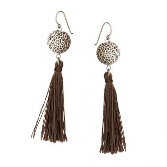 Kolczyki LARA srebrne z brązowymi frędzlami i agatem