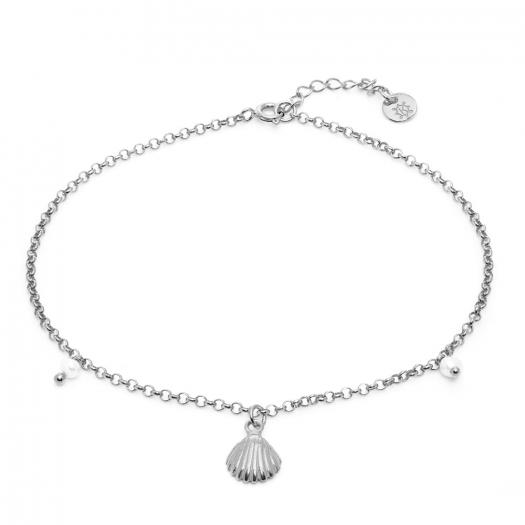 Bransoletka ARIEL srebrna z perłami i muszelką