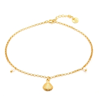 Bransoletka ARIEL srebrna pozłacana z perłami i muszelką