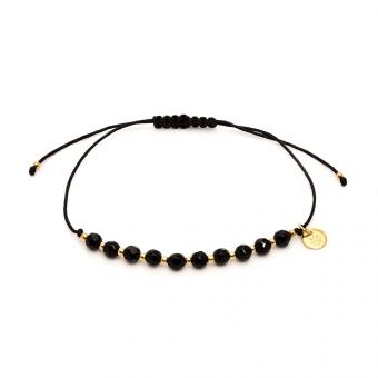 Bransoletka LARA z czarnymi i pozłacanymi kryształkami
