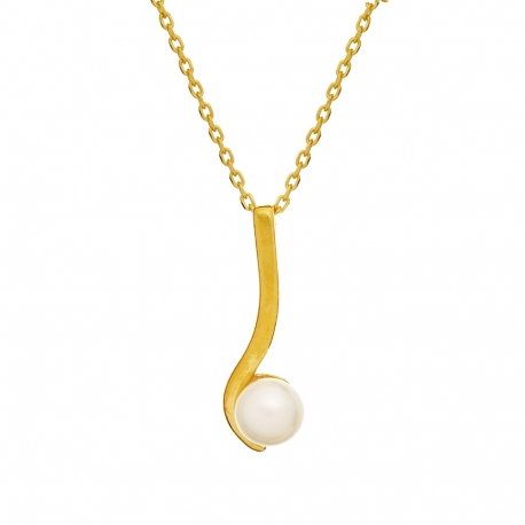Zestaw CLASSY srebrny pozłacany z perłami