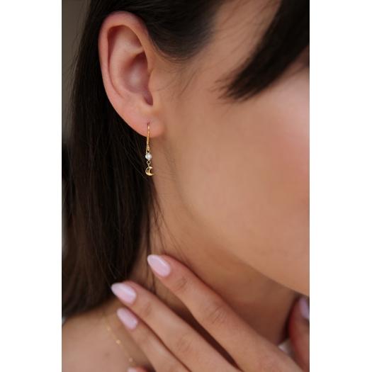 Kolczyki DOLCE VITA złote z perłą i księżycem