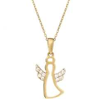 Wisiorek GLOW złoty z aniołkiem i cyrkoniami