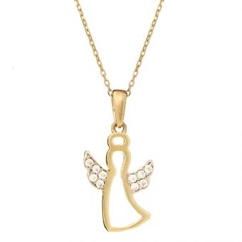Wisiorek MINI złoty z aniołkiem i cyrkoniami
