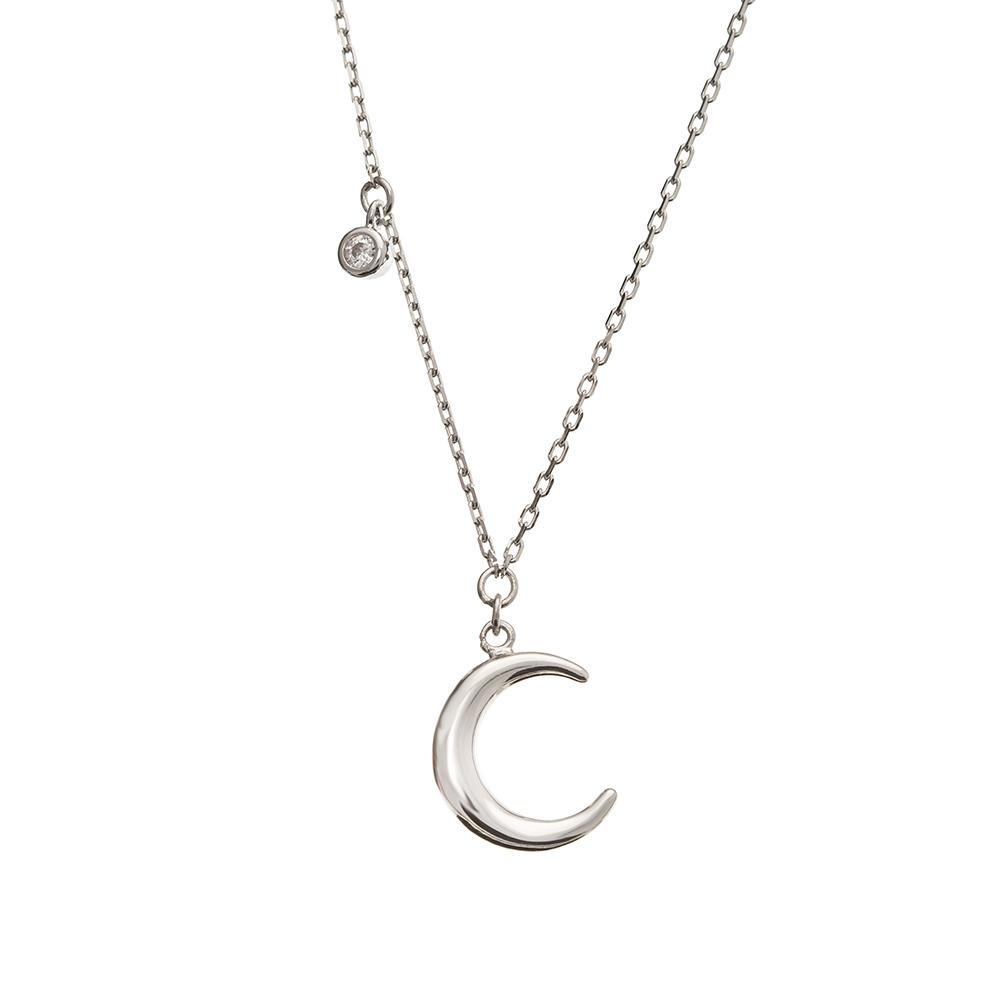 Naszyjnik WILD srebrny z księżycem i cyrkonią