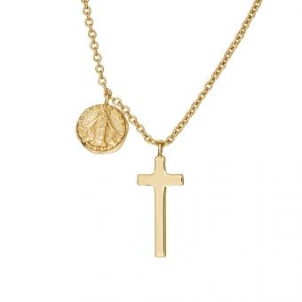 Naszyjnik TRENDY srebrny pozłacany z medalionem i krzyżykiem