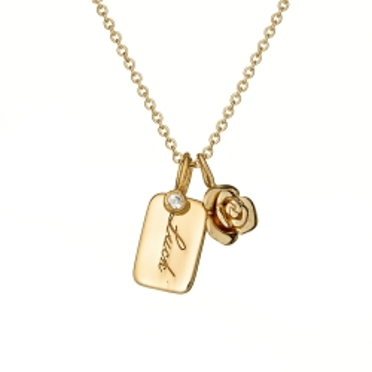 Naszyjnik ROSALIE srebrny pozłacany z różyczka i blaszką luck