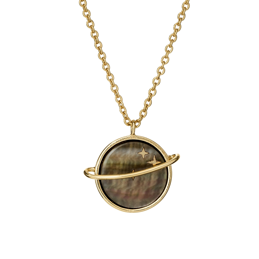 Naszyjnik ASTRO srebrny pozłacany planeta