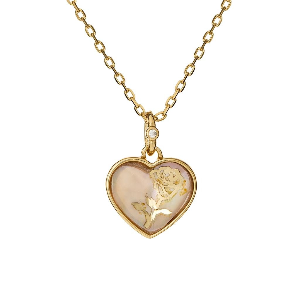 Naszyjnik ROSALIE srebrny pozłacany z serduszkiem i masą perłową
