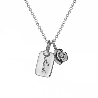Naszyjnik ROSALIE srebrny z różyczką i blaszką luck