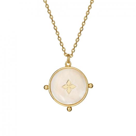 Naszyjnik ASTRO srebrny pozłacany z masą perłową