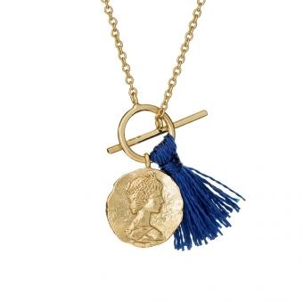 Naszyjnik URBAN CHIC srebrny pozłacany medalion z frędzlem
