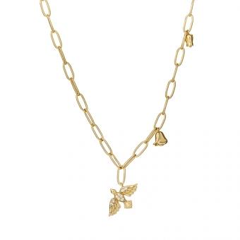 Naszyjnik ROSALIE srebrny pozłacany z różyczką i ptakiem