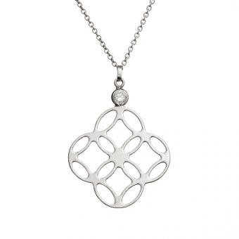 Naszyjnik FRAMES srebrny z cyrkonią i kwiatkiem