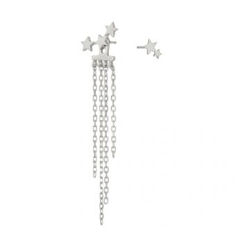 Kolczyki LOCO STAR srebrne z łańcuszkami i gwiazdkami
