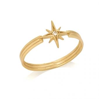 Pierścionek ASTRO srebrny pozłacany z gwiazdą