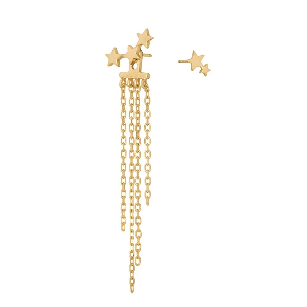 Kolczyki SKY srebrne pozłacane  z łańcuszkami i gwiazdkami