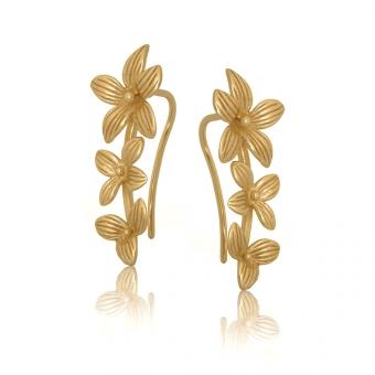Nausznice ROSALIE srebrne pozłacane gałązka z kwiatami