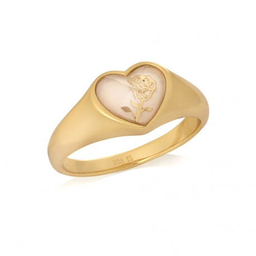 Pierścionek ROSALIE srebrny pozłacany z serduszkiem i masą perłową